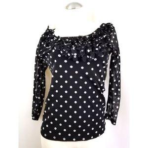 INC Size M Black White Polka Dot Top